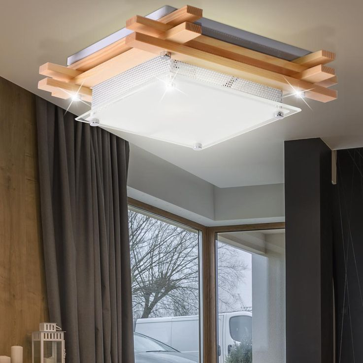 High quality ceiling lamp light wood glass light brown satin lamp clear Globo 48323 – Bild 3
