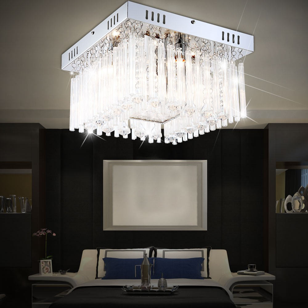Chrome ceiling light living room lighting crystals glass for Ebay living room lights