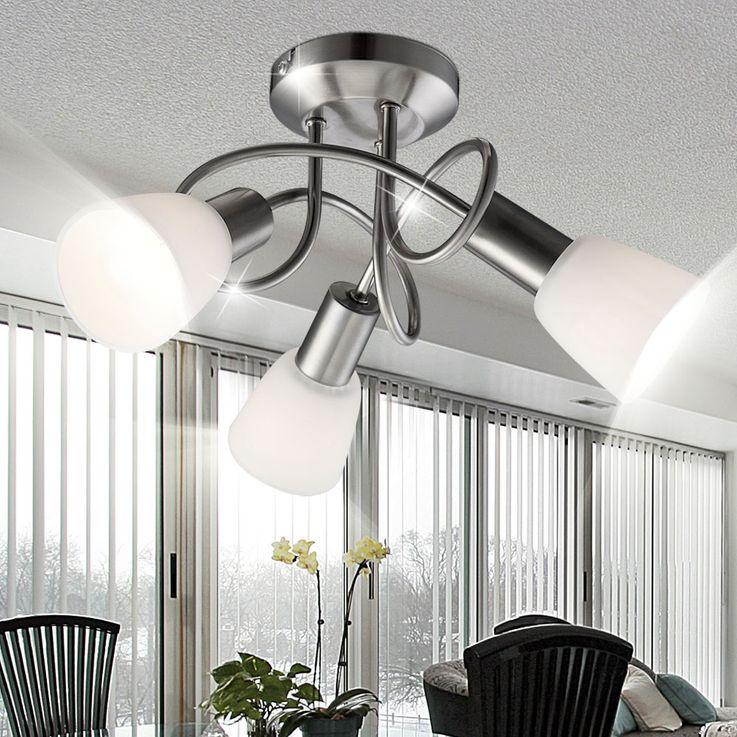 Ceiling light nickel glass lighting lamp ceiling lamp fixture light Globo 54539-3 – Bild 5