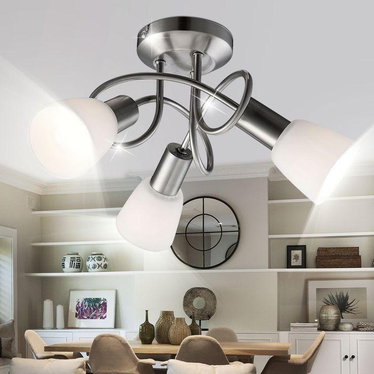 Ceiling light nickel glass lighting lamp ceiling lamp fixture light Globo 54539-3 – Bild 4