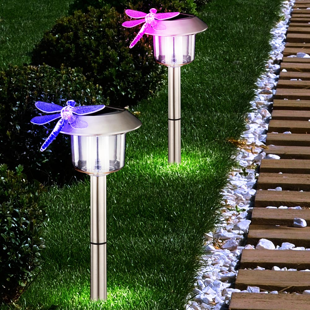 3 x luminaires solaires libellule led clairage jardin ext rieur terrasse ip44 ebay. Black Bedroom Furniture Sets. Home Design Ideas