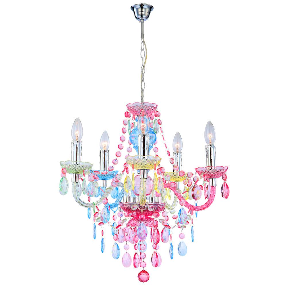 Elegante Hängeleuchte aus Chrom und Acrylkristalle