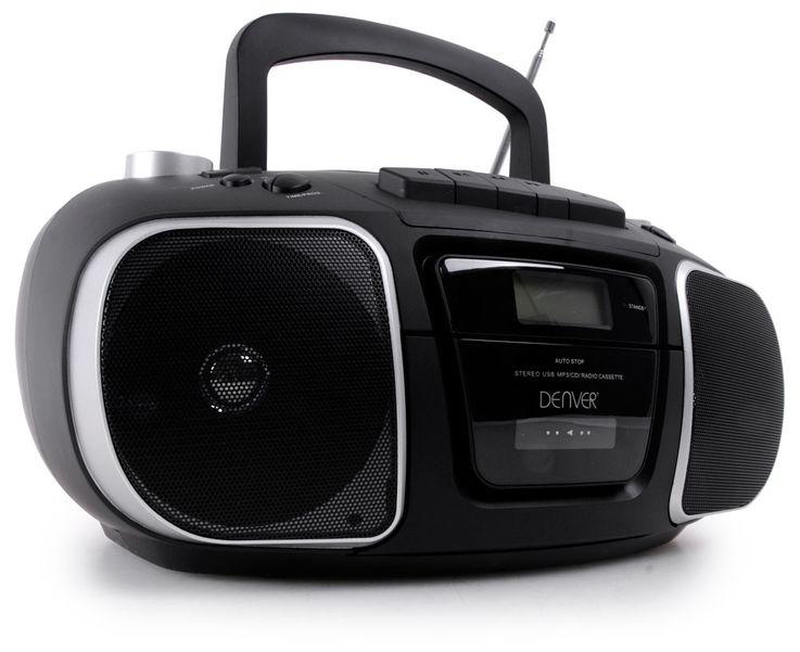 Tragbare Stereoanlage USB MP3 Radio Kassettenspieler Denver TCU-61 schwarz – Bild 1