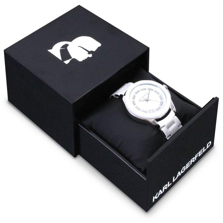 Ladies watch Womens watch white silver chronograph clock Karl Lagerfeld Clock by Fossil KL 1014 – Bild 3
