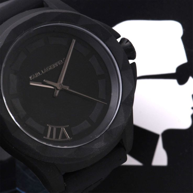 Unisex wristwatch stainless steel quartz clock silicone black Karl Lagerfeld by Fossil KL 1023 – Bild 2