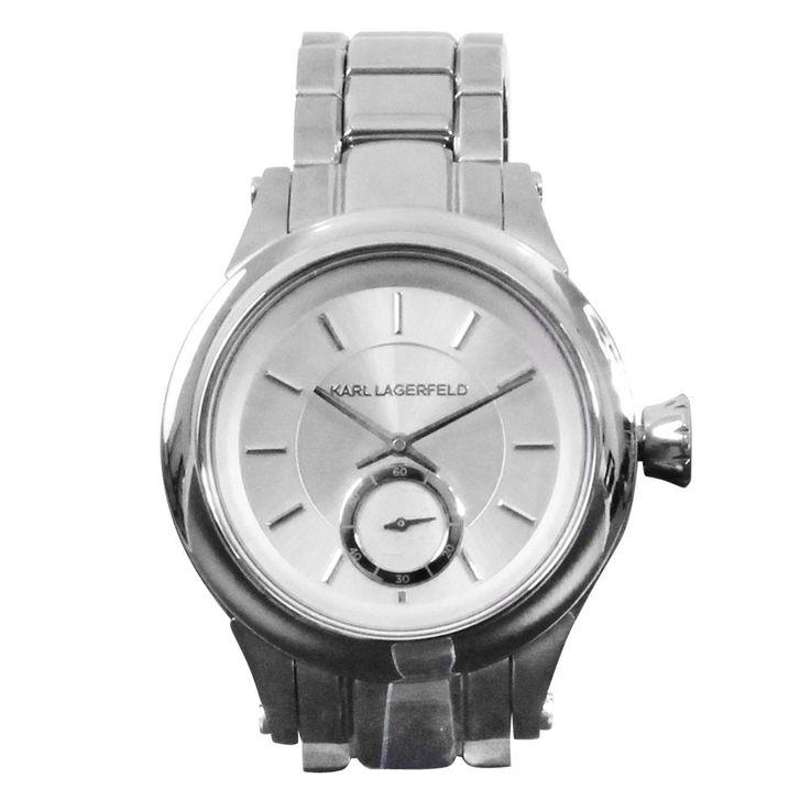 Unisex Wrist Bracelet Clock Chronograph Stainless Steel Silver Karl Lagerfeld by Fossil KL 1204 – Bild 1