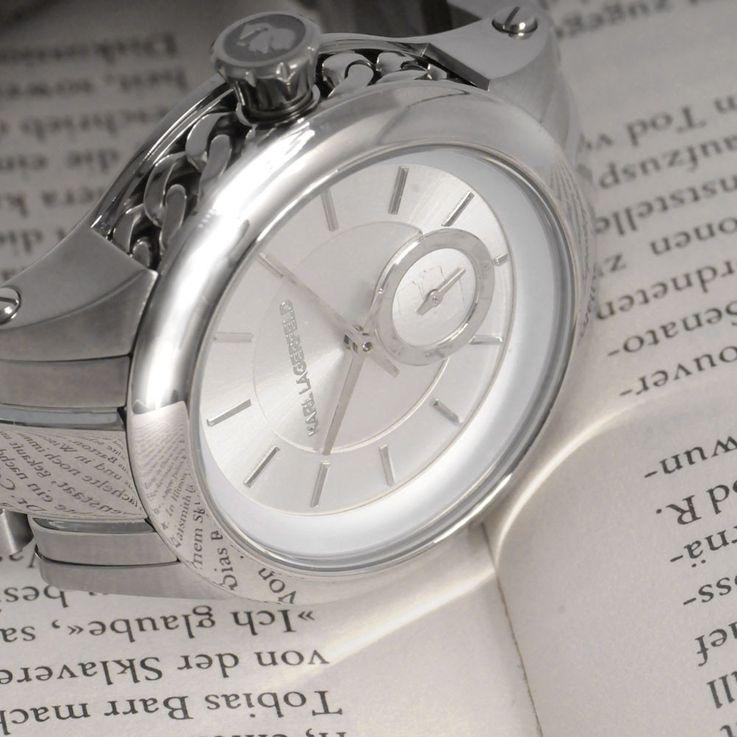 Unisex Wrist Bracelet Clock Chronograph Stainless Steel Silver Karl Lagerfeld by Fossil KL 1204 – Bild 2