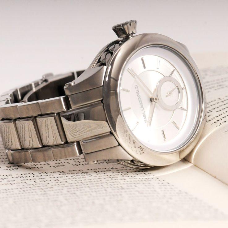 Unisex Wrist Bracelet Clock Chronograph Stainless Steel Silver Karl Lagerfeld by Fossil KL 1204 – Bild 3
