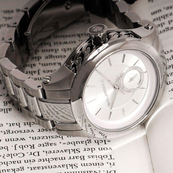 Unisex Armbanduhr Armband Uhr Chronograph silbern Edelstahl Karl Lagerfeld by Fossil KL 1204 – Bild 5