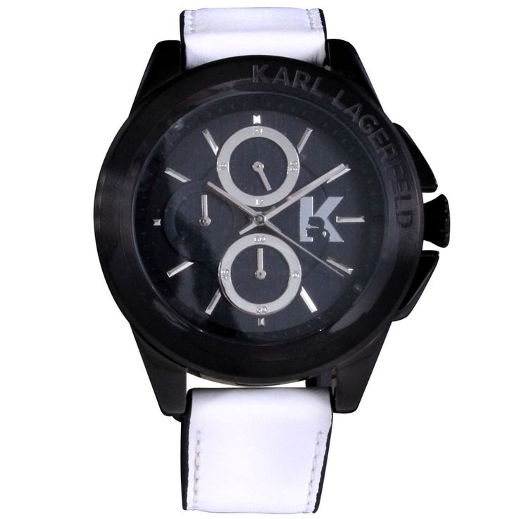 Unisex watch black leather strap Chronograph Stainless Steel Clock by Karl Lagerfeld KL 1408 Fossil – Bild 3