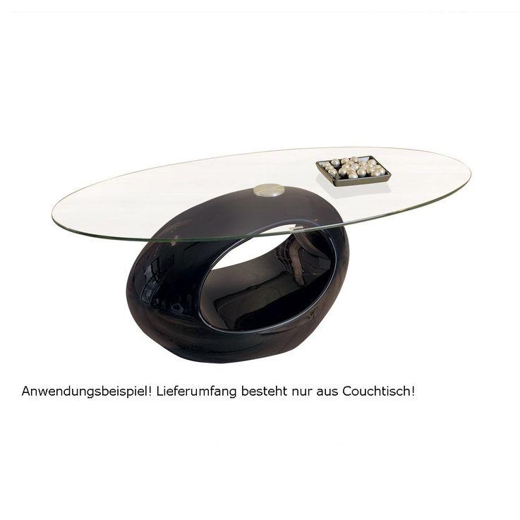 Couchtisch Beistelltisch Tisch Fiberglas Schwarz Sicherheitsglas NIGRA – Bild 3
