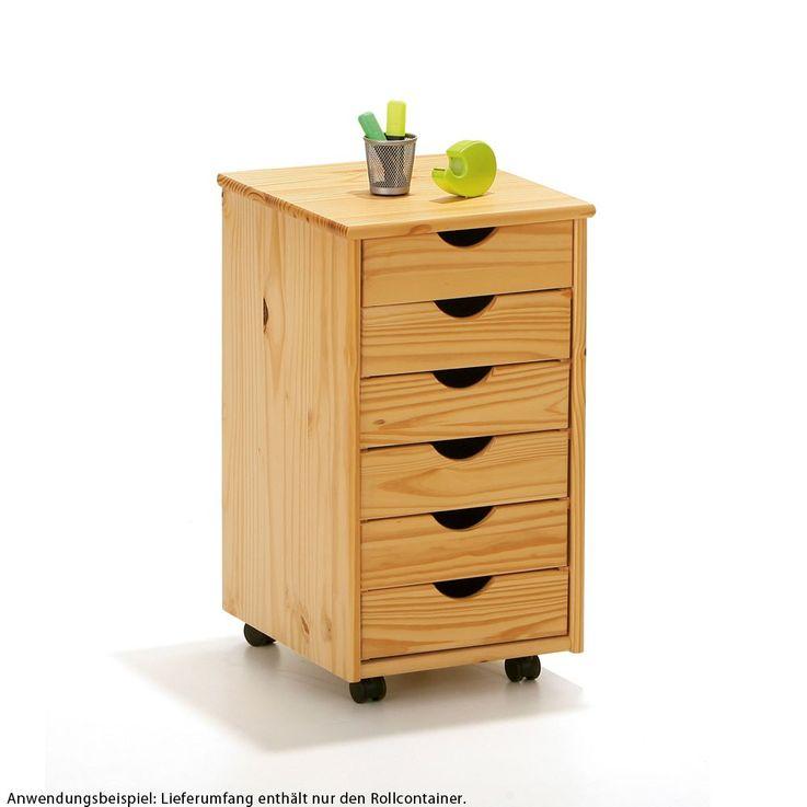 Roll-Container 6 Schubladen Büro Möbel Massivholz Holz Kiefer Natur Tisch Nils 30600300 – Bild 1