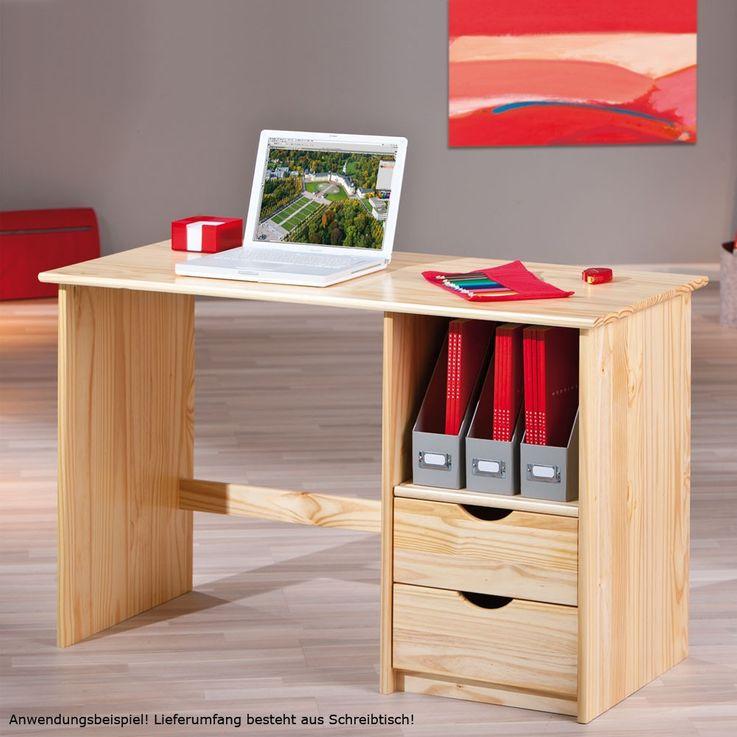 Schreibtisch Kiefer Massivholz Computertisch Schublade Büro Arbeitszimmer Interlink Sinus – Bild 2