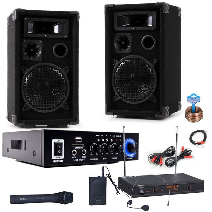 PA parti système haut-parleurs amplificateur Bluetooth USB SD MP3 sans fil microphone Karaoke DJ-compact 6 – Bild 1