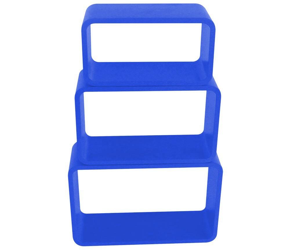 3 teiliger Rumteiler hochglanz Bücher Stapel Haushalts Regal BHP B421012M-9 blau