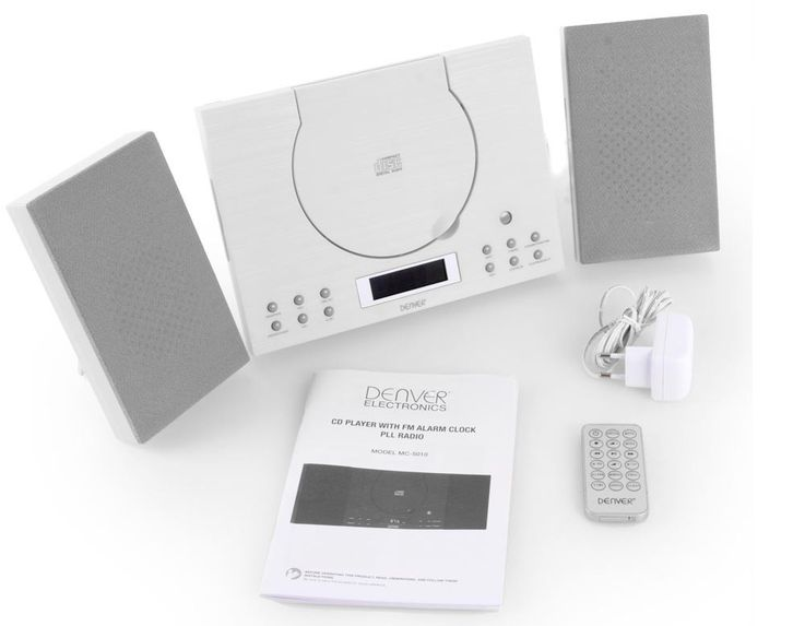 Stereo FM radio alarm clock Toploader CD Player AUX Denver MC-5010 white – Bild 7