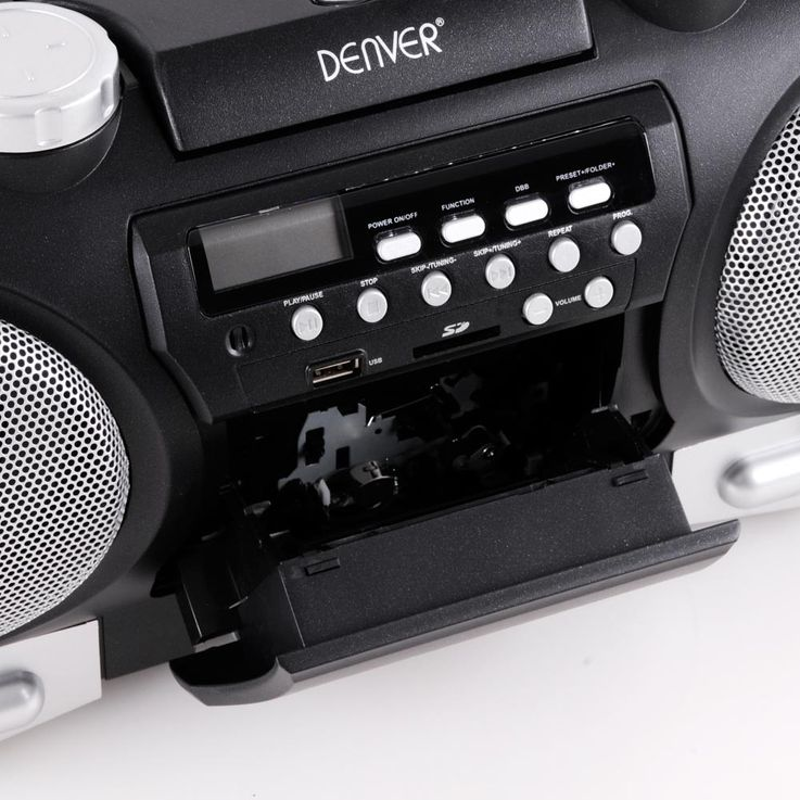 Ghettoblaster Stereo Soundbox Boombox portable USB AUX CD Radio SD black  Denver TCS-86 – Bild 4