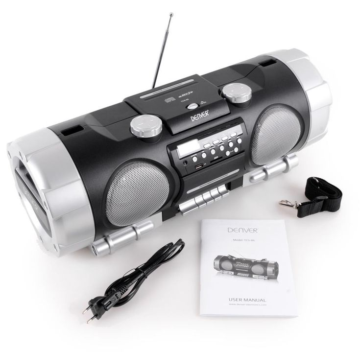 Ghettoblaster Stereo Soundbox Boombox portable USB AUX CD Radio SD black  Denver TCS-86 – Bild 8