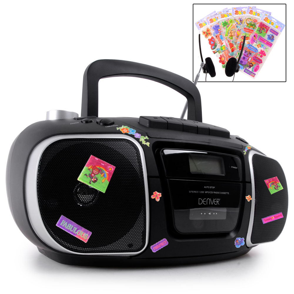 cd player cassette deck stereo boombox usb port loading radio puffy stickers ebay. Black Bedroom Furniture Sets. Home Design Ideas