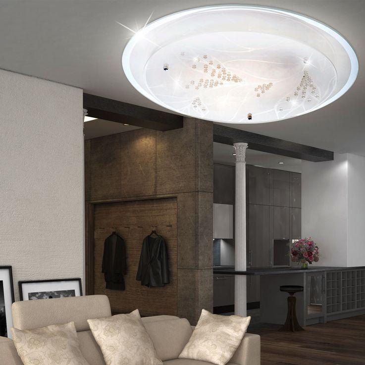 Plafonnier lumière éclairage LED 21 Watt chrome cristaux décoratifs métal fleur – Bild 3