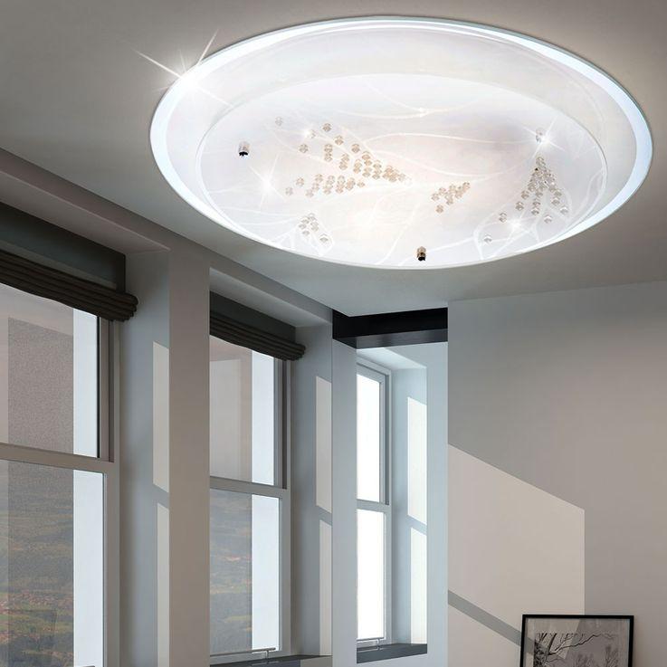 Plafonnier lumière éclairage LED 21 Watt chrome cristaux décoratifs métal fleur – Bild 2