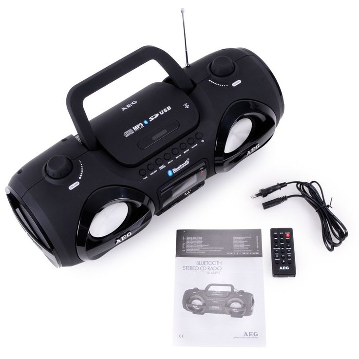Soundbox Boombox Ghettoblaster Stereo Radio CD MP3 Bluetooth FM AEG Headphone – Bild 9