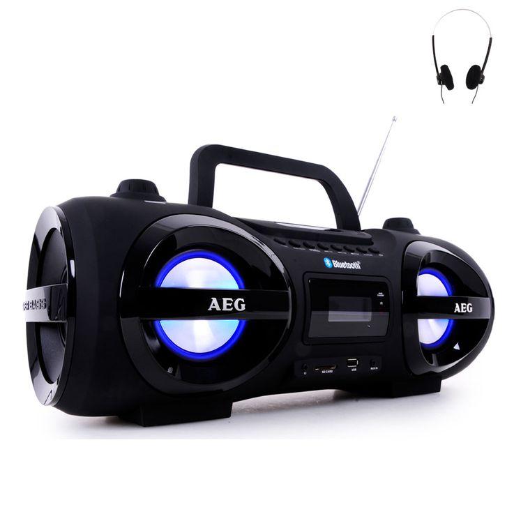 Stereoanlage Soundbox Ghettoblaster Boombox CD MP3 Bluetooth UKW AEG schwarz + Kopfhörer – Bild 1