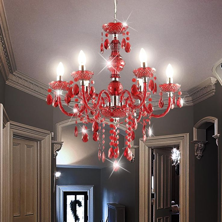 Chandelier lamp chandelier lighting chrome acrylic decorative red 6x E14 H: 1660 Globo 63111-6 CUIMBRA I  – Bild 5