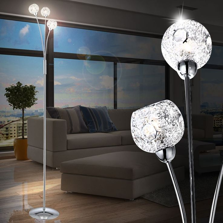 Floor lamp lighting spheres chrome braided clear crystals Globo SIENNA 5668-3S – Bild 6