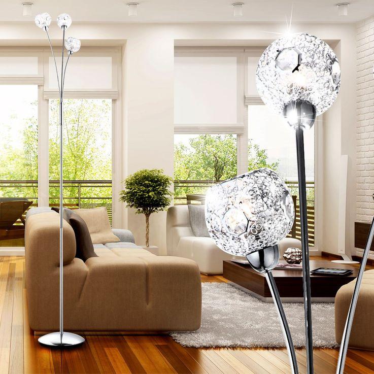 Floor lamp lighting spheres chrome braided clear crystals Globo SIENNA 5668-3S – Bild 7