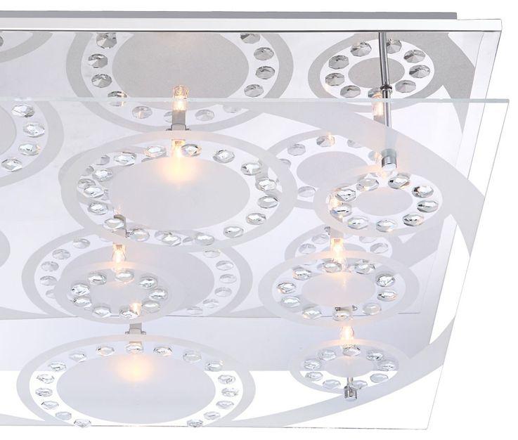 Moderne Leuchte aus Chrom und Glas mit K5 Kristallen – Bild 5
