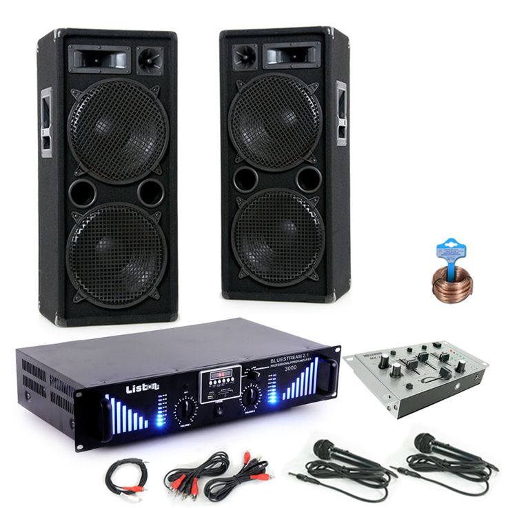 3000W PA Party haut-parleurs stéréo Bluetooth MP3 amplificateur SD USB Mixer DJ-Blue 2 – Bild 1