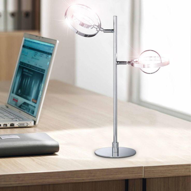 Lampe de table DEL 8 watt interrupteur luminaire bureau chrome lecture éclairage – Bild 3