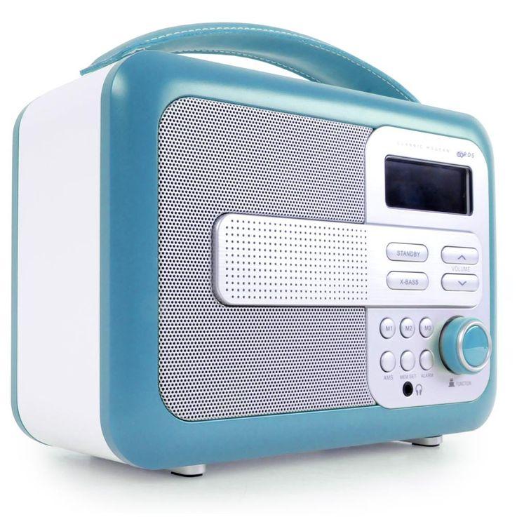 Radio Kunststoffgehäuse Lederelemente Wecker Uhr LCD Anzeige BigBen TR 21 T türkis – Bild 1