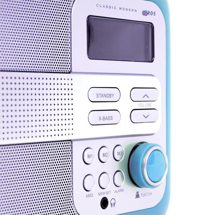 Radio portable boîtier éléments cuir réveil écran LCD turquoise musique – Bild 3