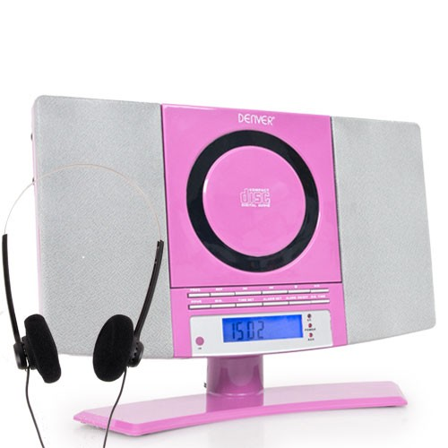 Mini stereo compact system  alarm clock CD-player aux radio Headphones Denver pink – Bild 1