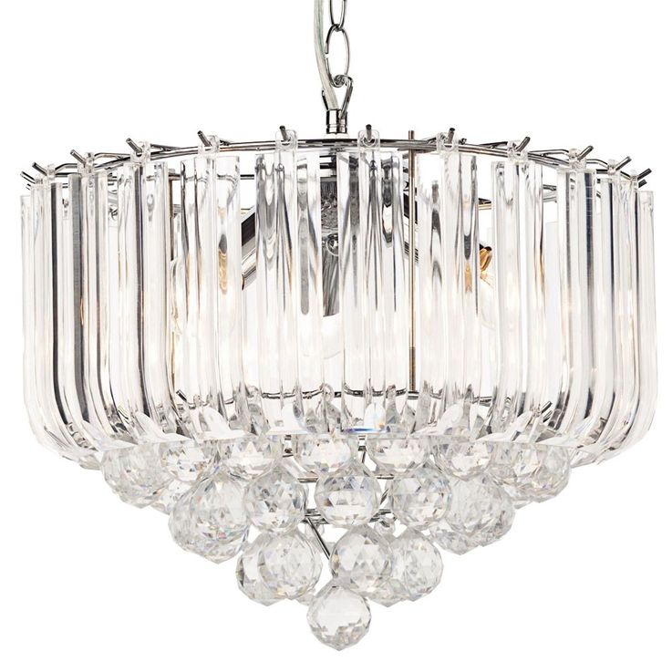 Elegant hanging lamp made of chrome with acrylic crystals – Bild 4