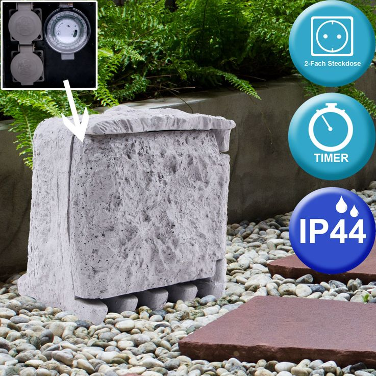 Distribution outlet timer 2 sockets IP44 outdoor stone look 5m cable gray Globo 37001-2Z – Bild 2