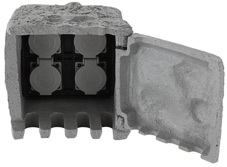 Distributor 4 sockets garden outdoor power stone look IP44 gray Globo 37001-4 – Bild 1