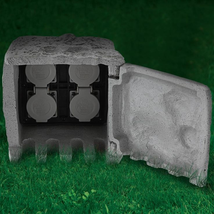 Distributor 4 sockets garden outdoor power stone look IP44 gray Globo 37001-4 – Bild 5