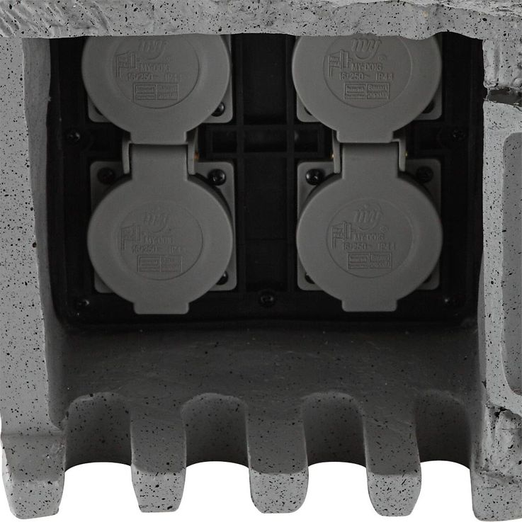 Distributor 4 sockets garden outdoor power stone look IP44 gray Globo 37001-4 – Bild 7