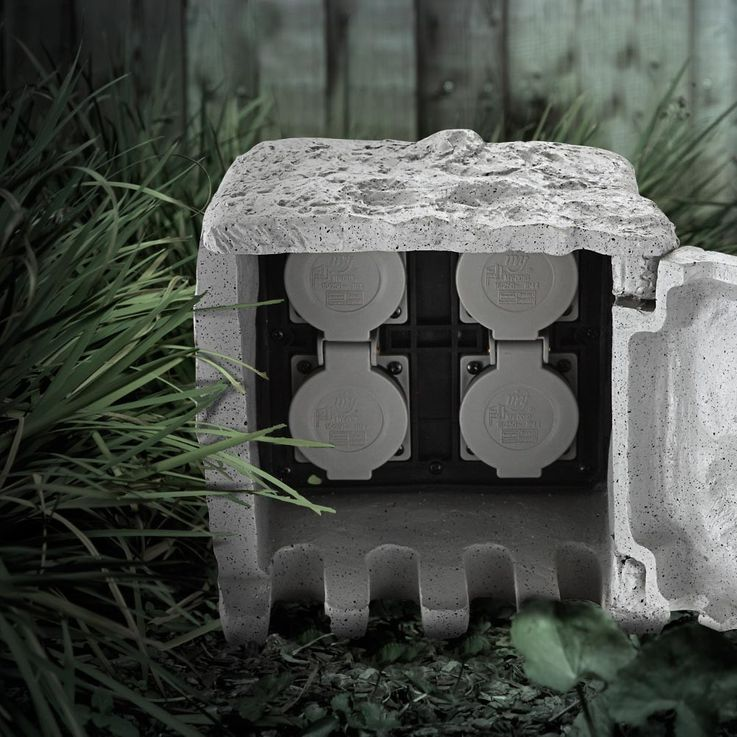 Distributor 4 sockets garden outdoor power stone look IP44 gray Globo 37001-4 – Bild 6
