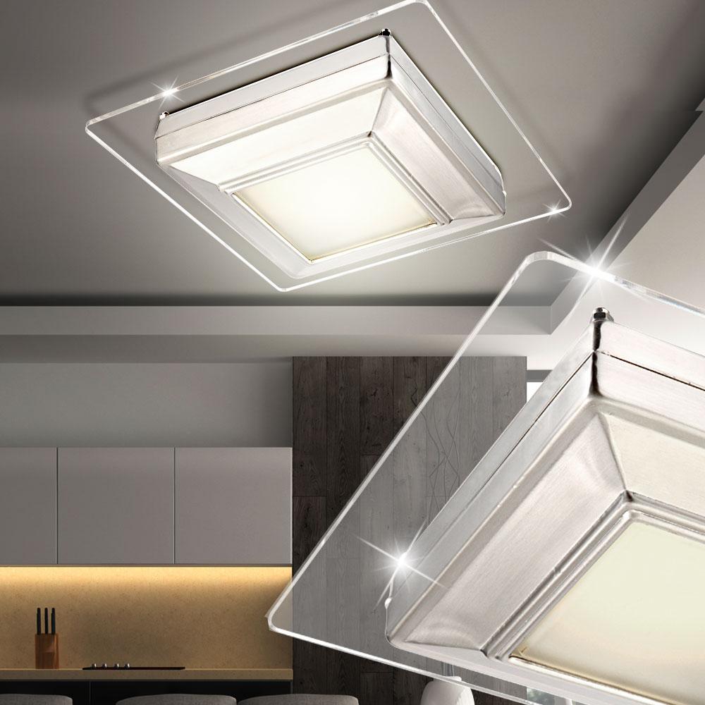 led 12 w decken leuchte wohnzimmer lampe chrom verspiegelt acryl energieklasse a ebay. Black Bedroom Furniture Sets. Home Design Ideas