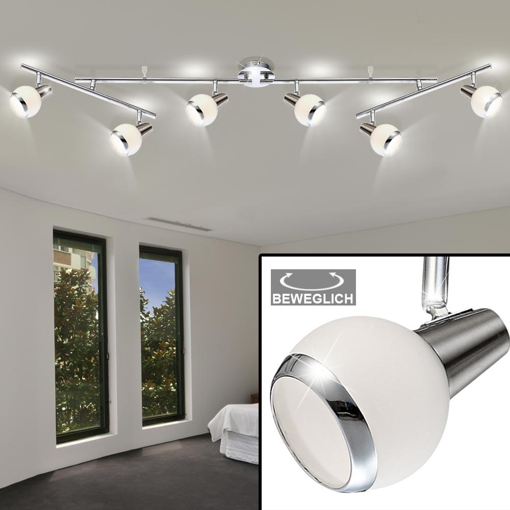Design Decken Lampe Strahler beweglich Leuchte Chrom Glas Spots Beleuchtung Büro