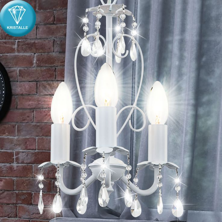 Chandelier Luster ceiling lamp pendant light dining room white Globo Pinja 63126-3 – Bild 3