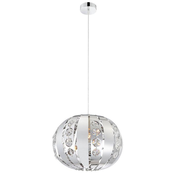 elegante kugel h ngelampe aus chrom mit kristallen lampen m bel r ume wohnzimmer. Black Bedroom Furniture Sets. Home Design Ideas