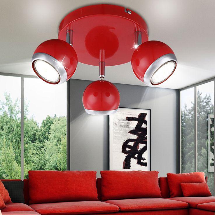 Éclairage plafonnier DEL 9 watts lampe 3 spots chrome design rétro boule rouge Globo 57885-3 – Bild 2