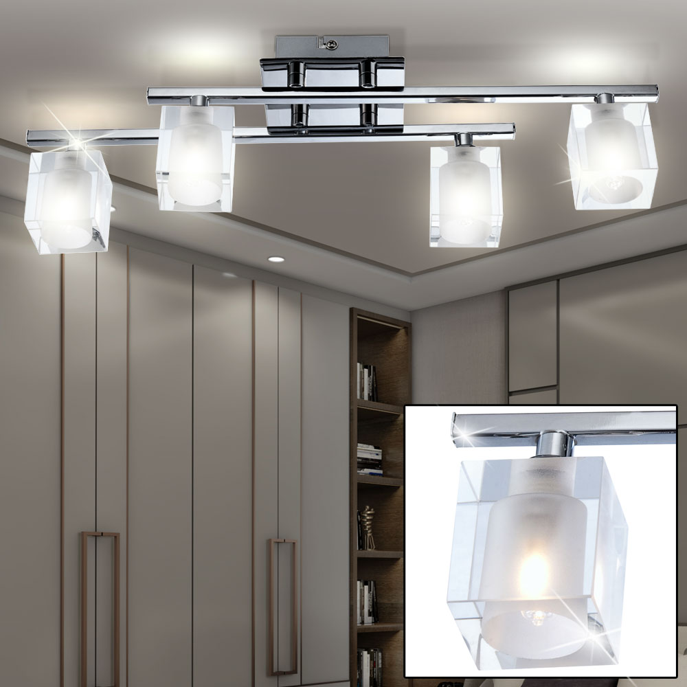 led decken leuchte glas w rfel lampe k chen bad flur strahler b ro licht 7 6watt ebay. Black Bedroom Furniture Sets. Home Design Ideas