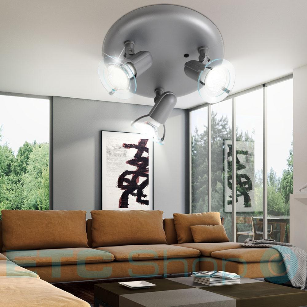 decken lampe grau innen raum beleuchtung 3 flammig spots. Black Bedroom Furniture Sets. Home Design Ideas