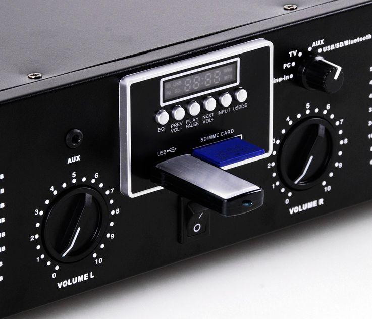 3000W PA Party Musik Anlage Boxen Bluetooth MP3 USB SD Endstufe Mixer DJ-Blue 3 – Bild 3